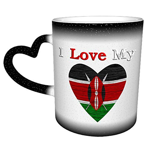 Amo mi Kenia Textura de madera Bandera de Kenia Taza Taza de café Cerámica Mango de corazón de cerámica