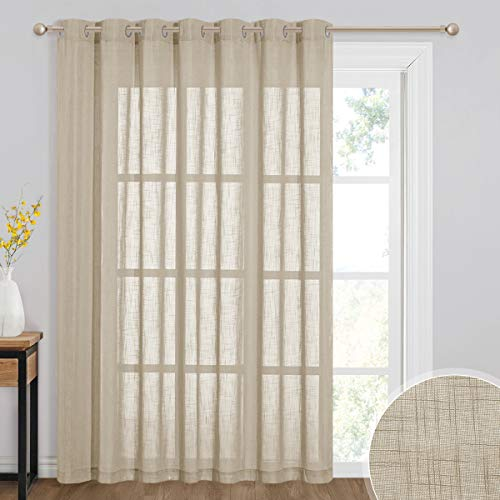 RYB HOME Curtains 84 inches Long - Country Semi Sheer Panels for Living Room Grommet Curtain Half Transparent Drapes for Bedroom Patio Doors Foyer Closet, 100 W x 84 L, Taupe