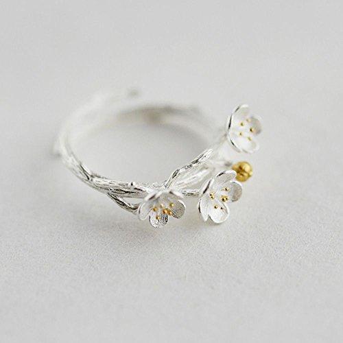 VANKER Vintage 3-Prune Fleur Blossoms 925 Argent Femmes Bague Ouverte Cadeau Bijoux