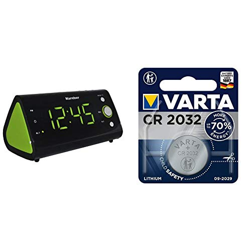 Karcher UR 1040-G Uhrenradio (Temperaturanzeige, Dual-Alarm) schwarz/grün und VARTA Batterien Electronics CR2032 Lithium Knopfzelle 3V Batterie 1er Pack Knopfzellen in Original 1er Blisterverpackung