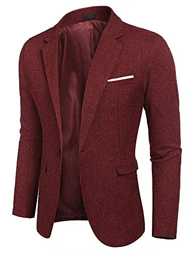 COOFANDY Sportsakko Herren Tweed Sakko, Rot, X-Large