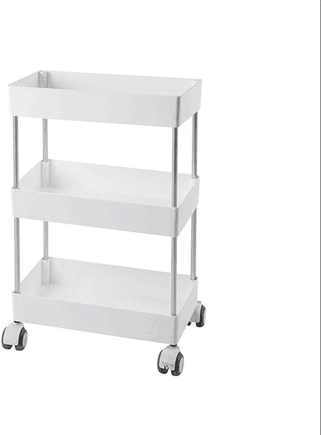 JCAFA Shelves Movable Trolley Kitchen Shelf Floor Multi-Layer Storage Rack Bathroom Bedroom Universal Wheel Storage Shelf, 2 Sizes (color   White, Size   3 Layers 8.77  15.86  25.51in)