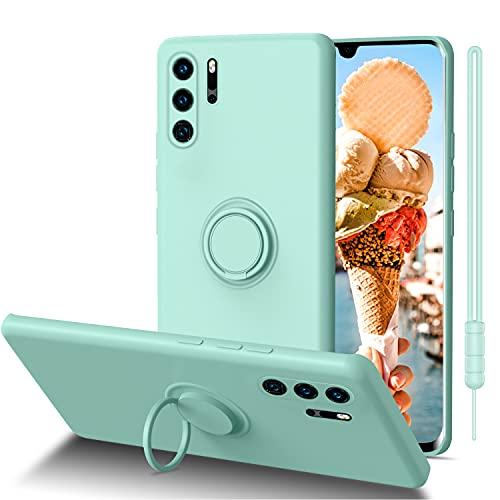ORDA Huawei P30 Pro New Edition Hülle, Handyhülle Huawei P30 Pro Ultra Dünn mit 360 Ring Holder Ständer Flüssig Silikon Soft Gel Matte Kratzfest Schutzhülle für Huawei P30 Pro New Edition Mintgrün