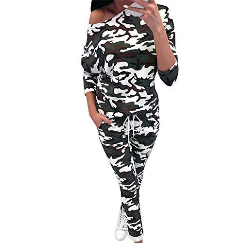 SUCES Damen Weich Bequem Langarm Pullover + Hosen Sweatshirt Frauen Sexy Schulterfrei O-Ausschnitt Sport Set Camouflage Leopard Bedrucktes Lose Langarm Yoga Änzuge(Tarnung,S)