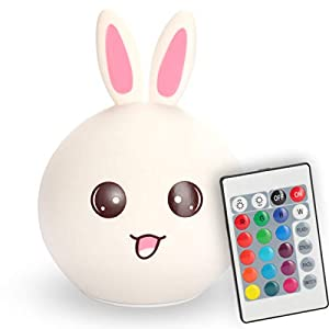 Lovely Bunny Multi-Color Integrated LED Night Light for Kids, Adorable Portable Squishy Silicone Rabbit Lamp with Touch & Remote Control, USB Rechargeable, Premium Gift for Baby Toddler Woman Friends