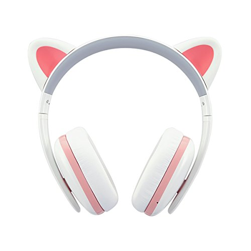 Cat Ear Headphones for Girls - Censi Cat Headphones Wireless Over Ear Bluetooth Headsets with Mic for Girlfriend, Wife, Women, Kids, for Her (White+Pink, Bluetooth)