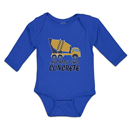 Cute Rascals Baby Clothes Long Sleeve Bodysuit My Daddy Pours Concrete Profession with Working Vehicle Boy & Girl Cotton Royal Blue Design Only 6 Months