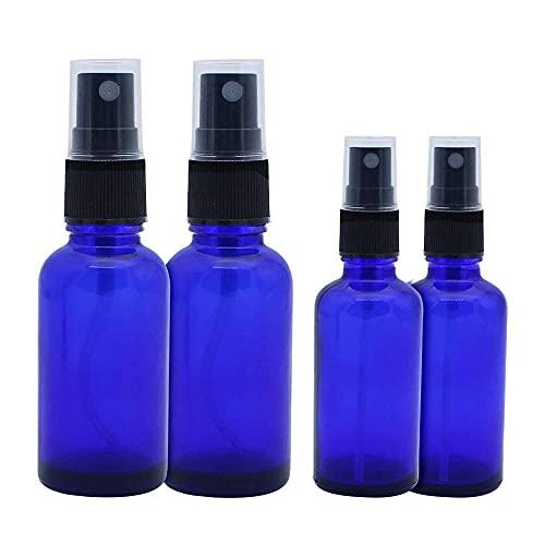 JaneYi 4 piezas Botellas de Spray de Vidrio Azul 30ml 50ml Botella de Spray Fina vacía Contenedor de Líquido con Atomizador para Aceite Esencial Perfume Aromaterapia Líquido Cosmétic