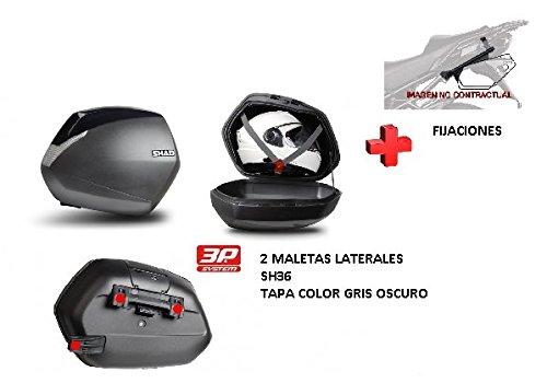 Kit SHAD fijacion + Maletas Laterales Tapa Negro Metal SH36 Compatible con BMW S1000XR (15-17)