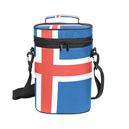 Bandera Islandia aislada bolsa vino – 2 botellas