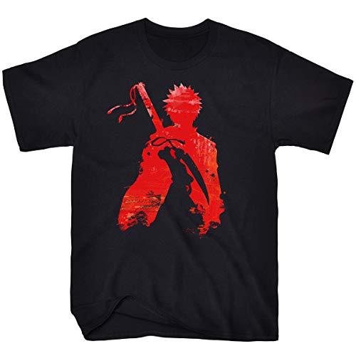 Faiwvhe Men's Bleach Ichigo Creative Outline Cotton Crew Anime T-Shirt,Black-R,L