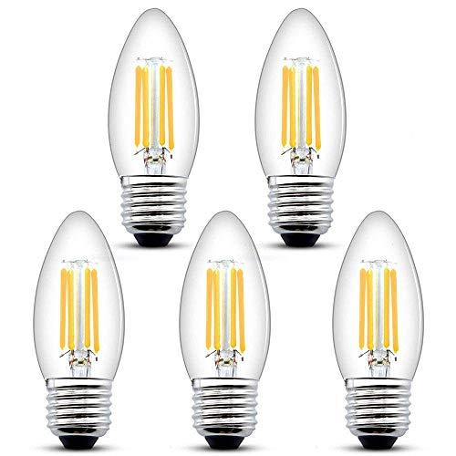 Bonlux Bombilla LED de filamento regulable 4W E27 estilo vintage C35 Edison rosca antigua bombilla de vela de 400lm, equivalente a 35–40W, bombilla halógena blanca cálida 2700K (5-PCS)