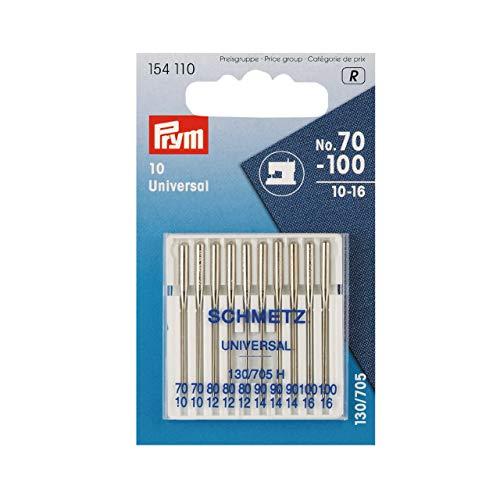 Prym 154110 Maschinennadeln Standard 70-100, 130/ 705 10 Stück Nähmaschinennadel, Stahl, silber, 3,0 x 0,3 x 0,3 cm