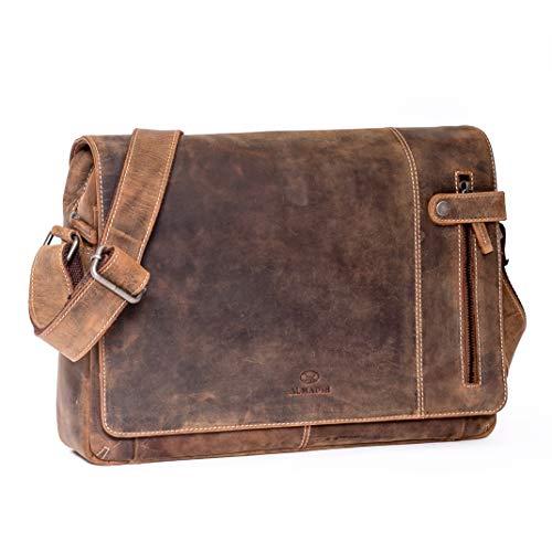 ALMADIH DYLAN – BV leather laptoptas, aktetas, premium rundleer, zakelijke tas, omhangtas, uniseks messenger werktas…