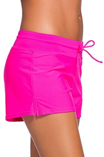 Aleumdr Rosa Damen Wassersport UV-Schutz Schwimmen Badehose Bikinihose Badeshorts Schwimmshortse XX-Large
