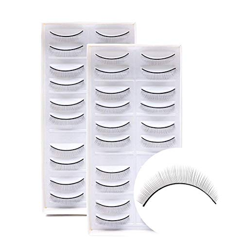 Training Lashes for Eyelash Extensions Self-adhesive Practice Lashes Strip for Teaching Lashes Extensions (20pairs/2packs) by LANKIZ