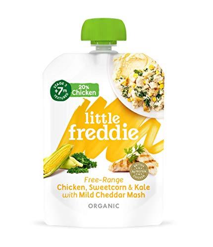 Little Freddie, Stage 2 from 7 months pouches, Little Freddie Organic Baby Food - Free Range Chicken & Kale Pot Pie with Cheddar Mash, 130 gram,(Pack of 6)