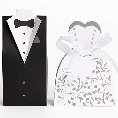 Ouinne 100pcs Cajas de boda, Caja de Bombones Caramelos en Forma de Novio y Novia para Invitados de Boda