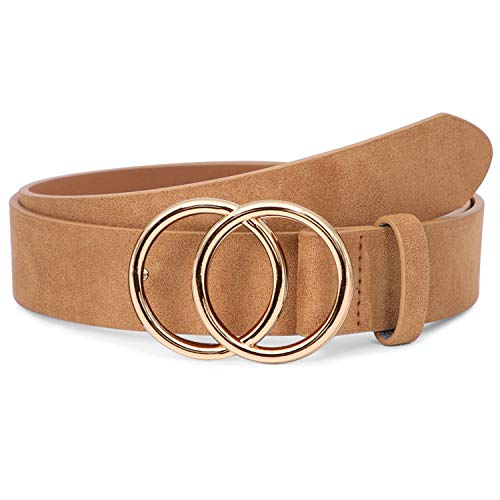 Fashion Belts for Women Khaki Belt for Jeans Dresses Pants with Gold Double O-Ring Buckle