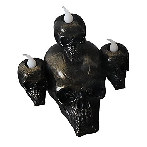 Raspbery Soporte para Pinceles de Maquillaje de Calavera, bolígrafo de Calavera Negro Creativo y portalápices con Luces de Velas electrónicas embrujadas LED Soporte para Llaves de Esqueleto vividly
