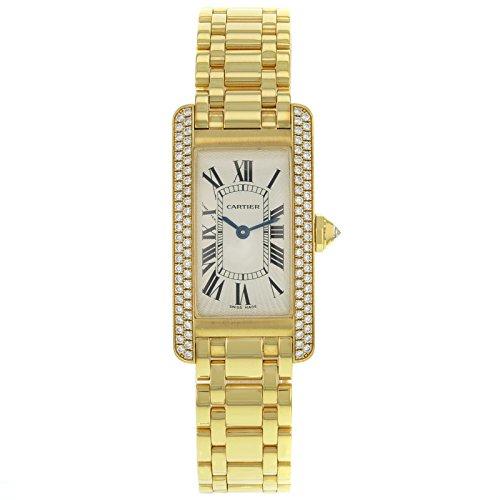 Cartier serbatoio Americaine WB7043JQ diamanti oro giallo 18K quarzo...