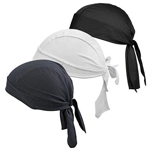 HASAGEI Sports Bandana Cap Herrem Damen Biker Bandanas Kopftuch Hat - Schwarz Grau Weiß
