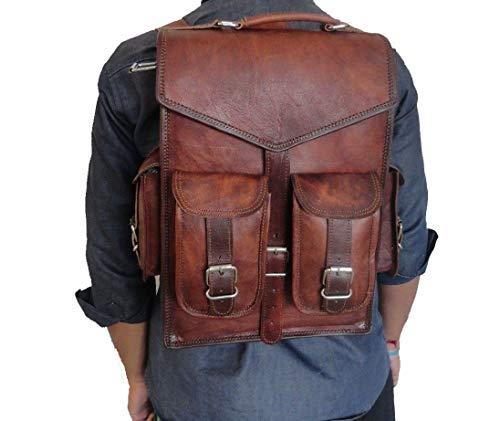 """DHK 15"""" Brown Vintage Leather Backpack Laptop Messenger Bag Rucksack Sling for Men Women"""