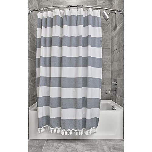 iDesign Duschvorhang gestreift, schöner Badewannenvorhang in 183,0 cm x 183,0 cm aus Polyester, weiß/marineblau