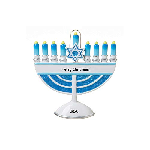 Personalized Menorah Christmas Tree Ornament 2019 - Blue Candelabrum Seven Candle Branches Star of David Jewish Worship Religious 1st Family Chanukah Baby's First Hanukkah - Free Customization