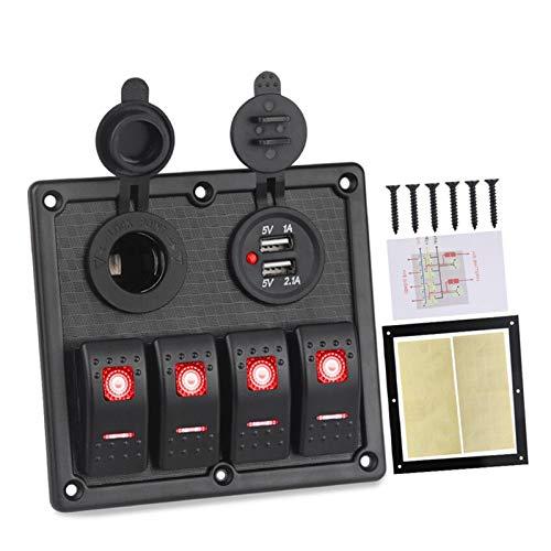 HUILING September Department Store 12V 24V Panel de interruptores de Rocker 4 Gang 3.1A Cargador USB Cigarette Encendedor Encendedor LED LED Panel DE INTERRAMIENTO Marino AUTOMÁTICO (Color : Red)