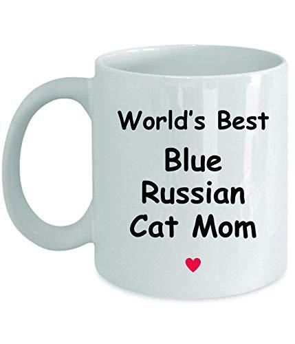 Regalo para la mamá gata rusa azul - La mejor del mundo - Novedad divertida Idea de regalo Café Taza de té Regalos divertidos Cumpleaños Aniversario de Navidad Gracias Apreciación Taza blanca de 11 oz