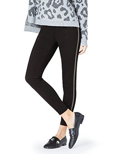 find. Damen Leggings mit seitlicher Kettenbordüre und Nähten entlang der Beine  Schwarz, 42 (Herstellergröße: X-Large)