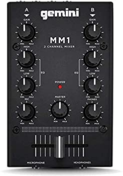Gemini MM1 Professional Audio 2-Channel Stereo 2-Band Rotary Compact DJ Mixer with Cross-Fader and Individual Gain Control Black