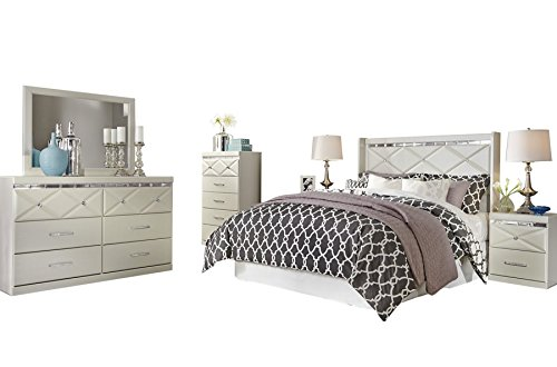 Ashley Dreamur 6PC Bedroom Set Full Panel Headboard Dresser Mirror Two Nightstands Chest in Champagne