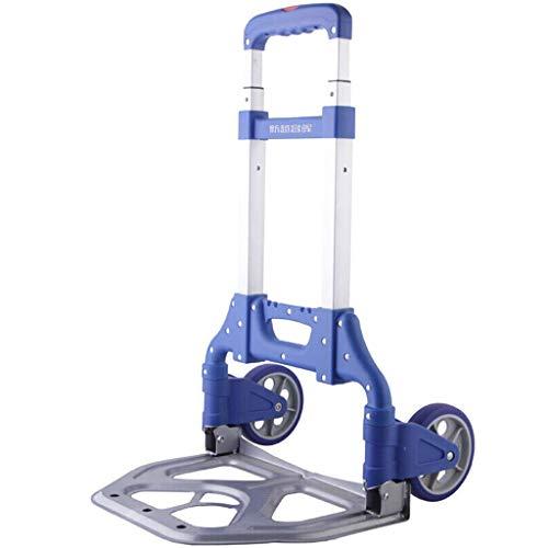 LXCS Climbing The Floor di Acquistare Un Food Truck, Acquisto Carrello, Piccolo rimorchio, Carrello, Carrello, Portable Folding Trolley - Dimensione 39x27x63cm (Color : Blue)