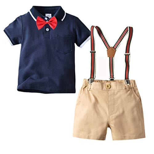 Julhold Zomer Peuter Kinderen Baby Jongens Slim fit Gentleman Korte Mouwen Boog Tie Katoenen Tops T-Shirt + Shorts Set 2019New
