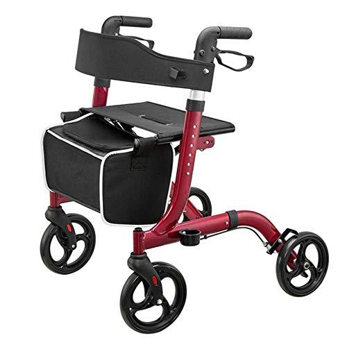 WYFC shopping cart 4 Rollator Walker Leichter Aluminium-Klappwanderer mit Schleifenbremse Höhenverstellbarer Sitz für Erwachsene, an Beinen und Armen,Red