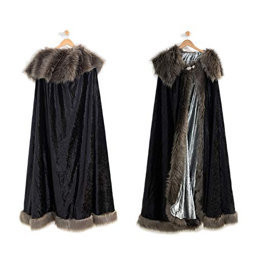 Everfan Medieval Game of Thrones Cloak | Perfect Costume for Cosplay, LARP, and More (Adult) Black