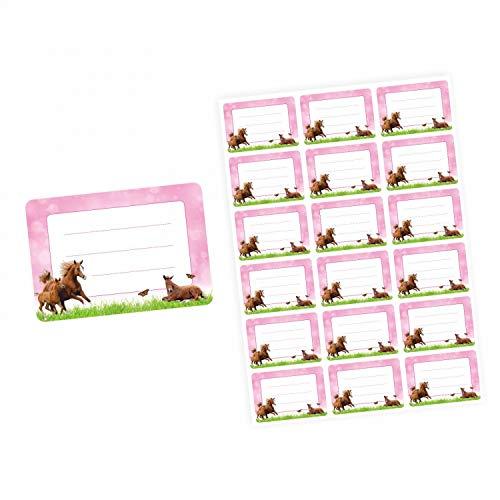 72 Blanko Etiketten Pferde Rosa Pink - 64 x 45 mm - Namensetiketten Mädchen Aufkleber Sticker