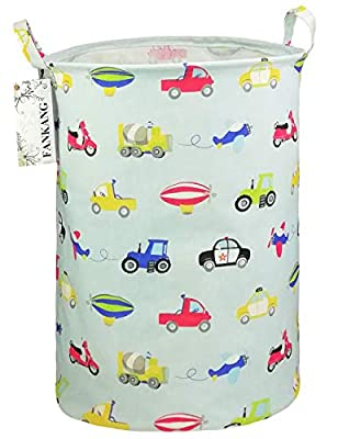 FANKANG Storage Bins Nursery Hamper Canvas Laundry Basket Foldable with Waterproof PE Coating Large Storage Baskets, Office, Bedroom, Clothes, Toys Baby Shower Basket (Car)