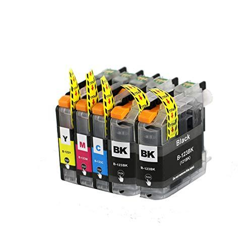 Abakoo 5 cartuchos de tinta de repuesto para Brother LC121 / LC123 / LC125 /LC127 con chip V3 XXL ProSerie DCP-J132W / DCP J150 Series/MFC J245/ MFC J4610 DW/MFC-J4510DW/ MFC-J470DW