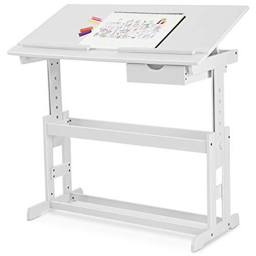DREAMADE kinderschreibtisch höhenverstellbar, Kindertisch Schreibtisch Schülerschreibtisch, Computertisch Neigungsverstellbar, Farbewahl (Weiß)