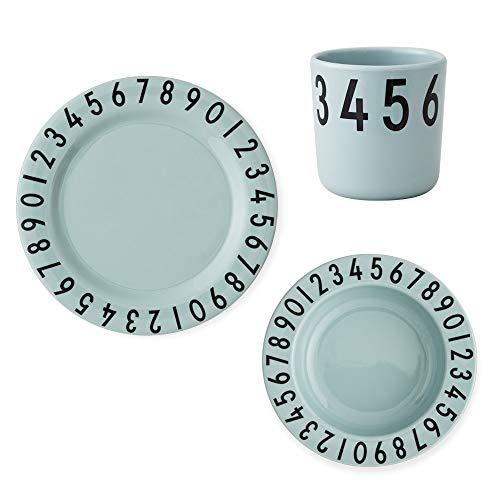 Design Letters - Geschenk Melamin Nummer Set. Geschirr Geschenk-Set | Teller, Schale, Tasse, Alter: Für Babys ab 6 Monaten, Grün