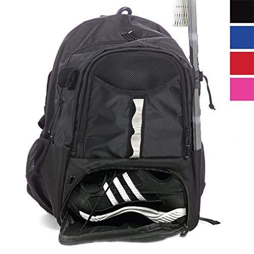 Athletico Jugend Lacrosse Bag - Extra großer Lacrosse Rucksack - für alle Lacrosse oder Feldhockey-Ausrüstung - Zwei Stockhalter und Separates Steckfach, schwarz