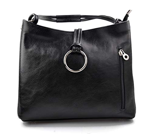 Leather ladies handbag black shoulder bag luxury bag women handbag made in Italy women handbag