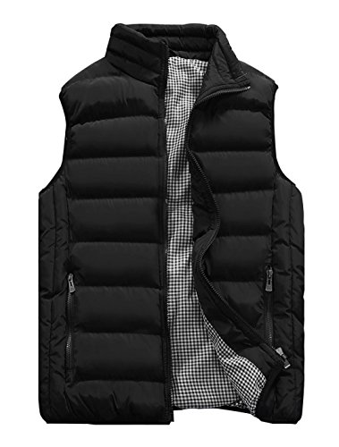 Vcansion Men's Outdoor Casual Stand Collar Padded Vest Lightweight Down Cotton Jacket Coat Vest Black XL