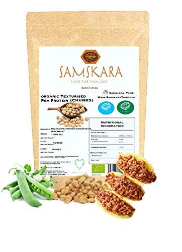 Proteína de Guisante granulada Texturizada Chunks (55% proteíco) | de cultivo Ecológico BIO | 100% Natural | bolitas carne vegetal vegano sin gluten sin soja (1kg)