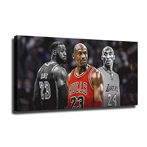 Basketball poster Kobe Bryant LeBron James and Mj canvas art sports poster interior decoration art print large size poster SANTA RONA(12x24inch,No framed)