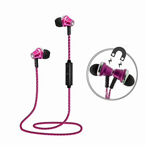 Lauson Auriculares Deportivos Bluetooth Inalámbricos Universales, Cascos Magnéticos, Manos Libres Estéreo con Micrófono, Cancelación de Ruido y Cable de Carga USB (Rosa)
