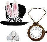 I LOVE FANCY DRESS LTD Adulto país de Las Maravillas Conejo Sombrero con Gran Orejas y Incluido Lazo + Jumbo Hinchable Clock + Conejo Nariz Colegio Carnaval + Carnaval Accesorio para Disfraz